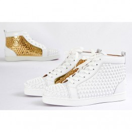 Christian Louboutin(クリスチャンルブタン) Flat Spikes In Latte And Metallic Gold ハイトップ